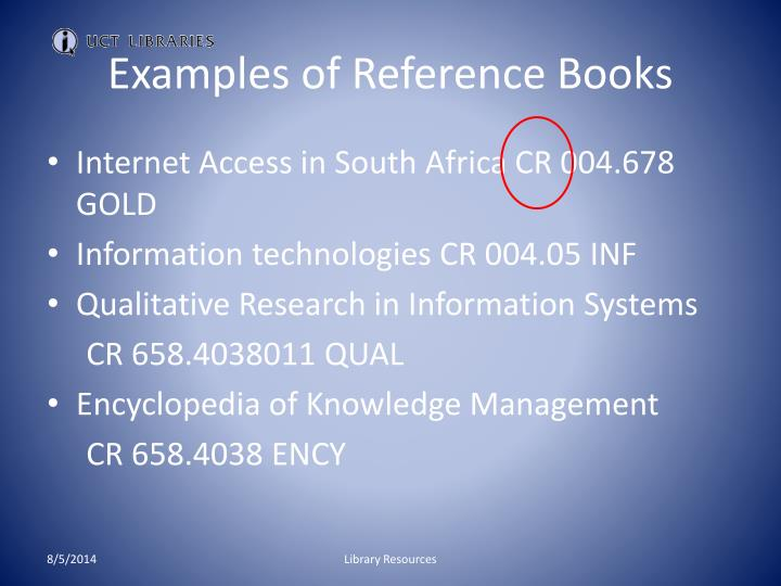 Examples of Reference Books