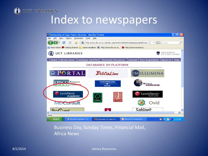 Index to newspapers