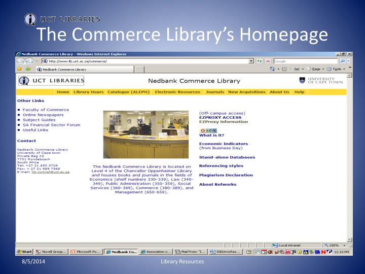 The commerce library s homepage