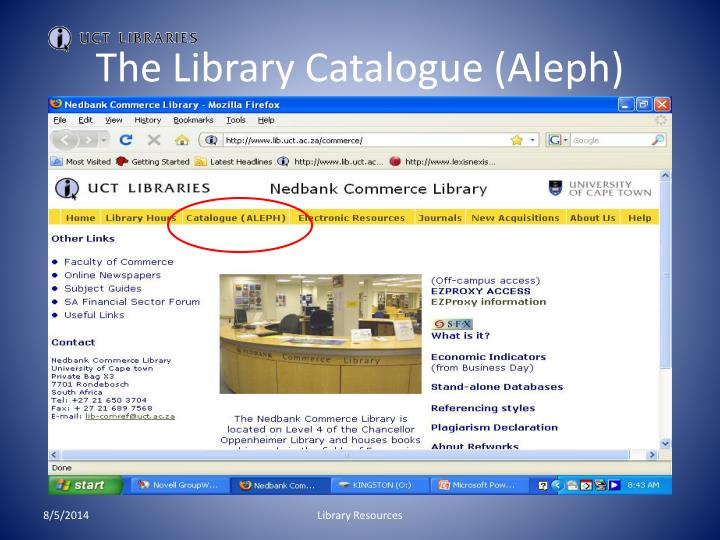 The Library Catalogue (Aleph)