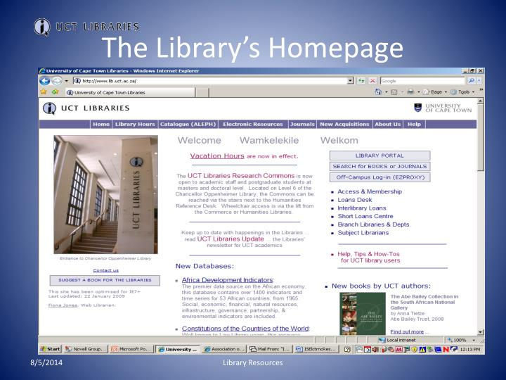 The library s homepage