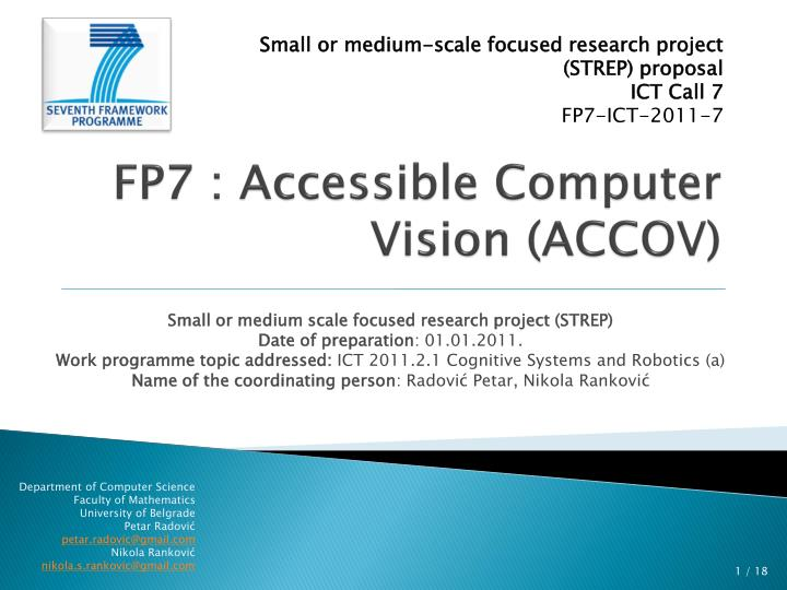 fp7 accessible computer vision accov n.
