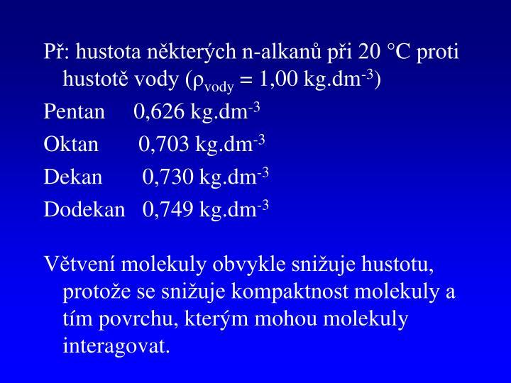 Př: hustota některých n-alkanů při 20 °C proti hustotě vody (