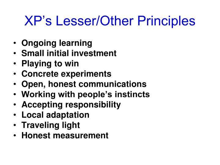 XP's Lesser/Other Principles
