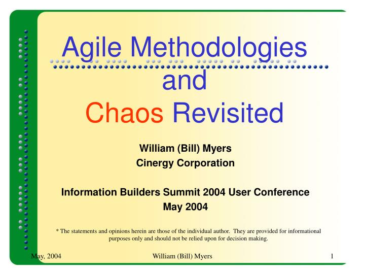 agile methodologies and chaos revisited n.