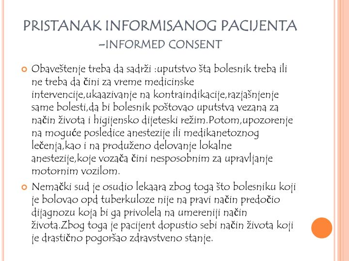 PRISTANAK INFORMISANOG PACIJENTA -informed consent