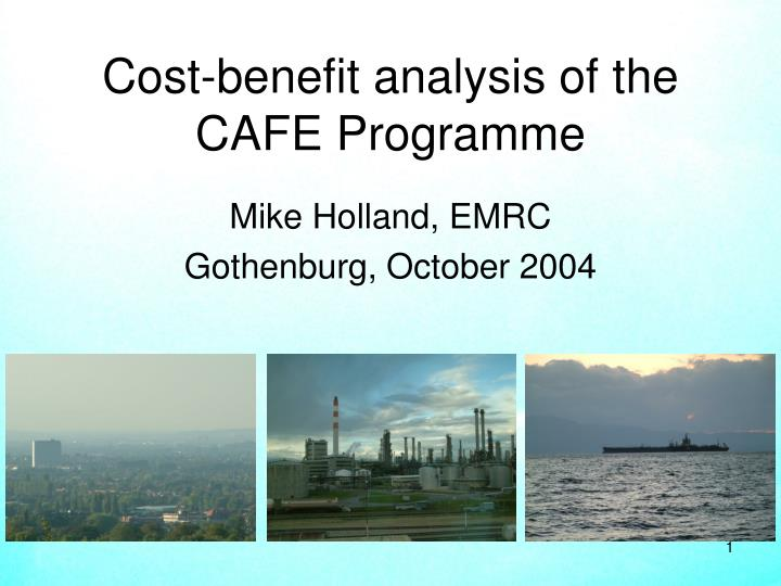 Cost benefit analysis of the cafe programme