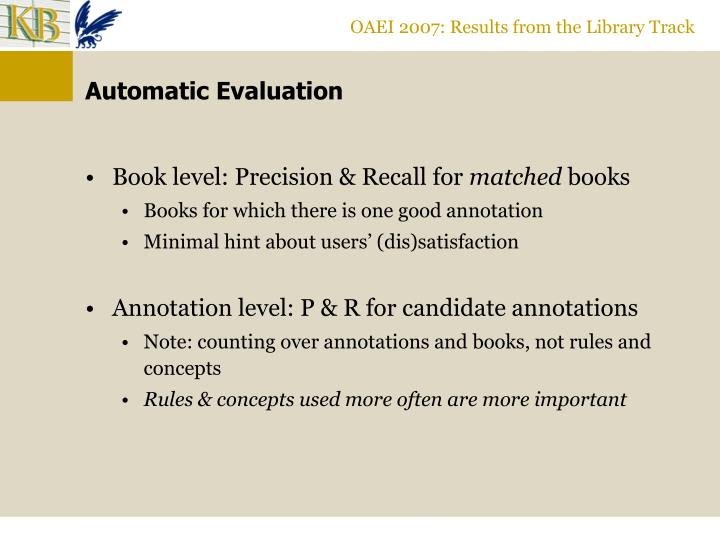 OAEI 2007: Results from the Library Track