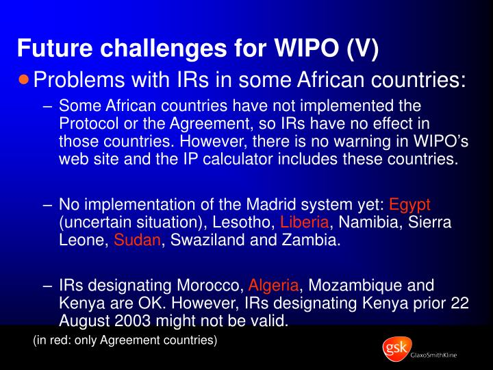 Future challenges for WIPO (V)