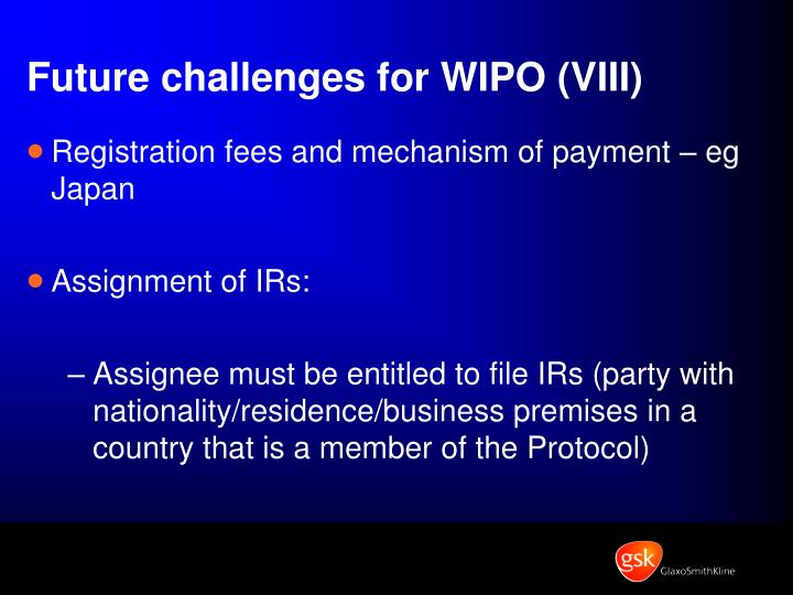 Future challenges for WIPO (VIII)