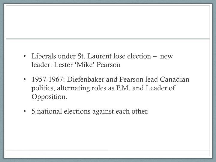 Liberals under St. Laurent lose election –