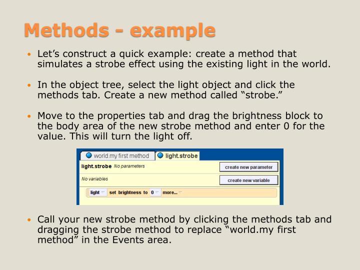 Methods - example