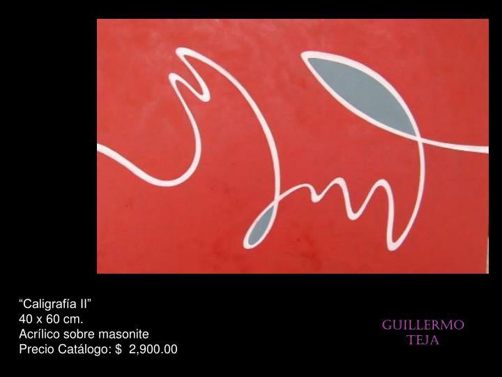 """""""Caligrafía II""""                                            40 x 60 cm.                                        Acrílico sobre masonite                       Precio Catálogo: $  2,900.00"""