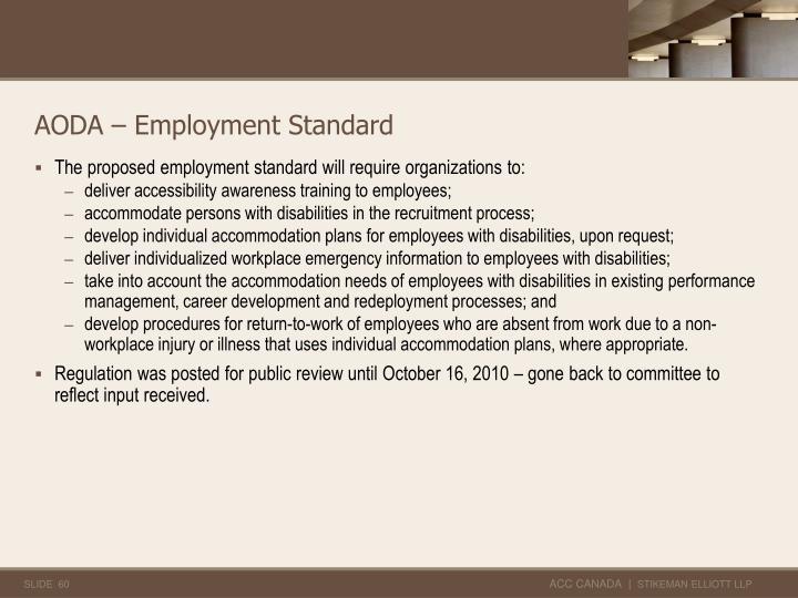 AODA – Employment Standard