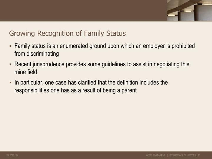 Growing Recognition of Family Status