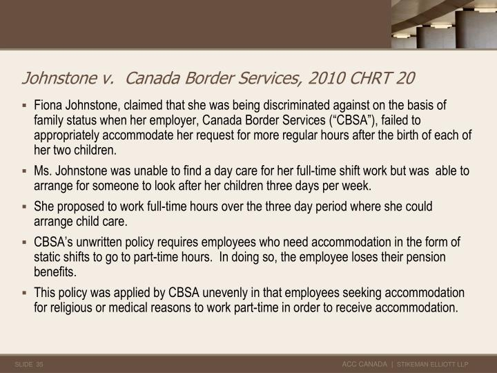 Johnstone v.  Canada Border Services, 2010 CHRT 20