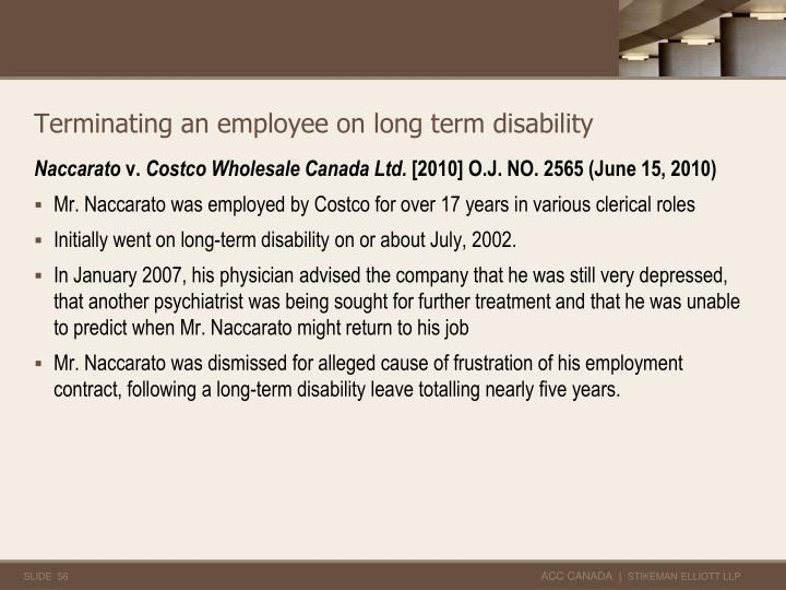 Terminating an employee on long term disability