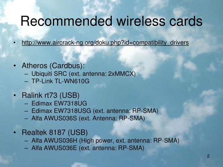 Recommended wireless cards