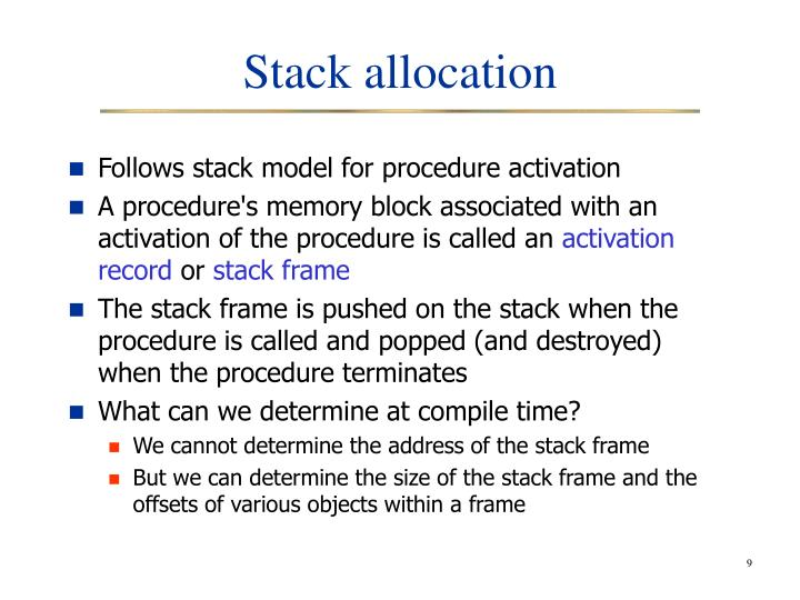Stack allocation