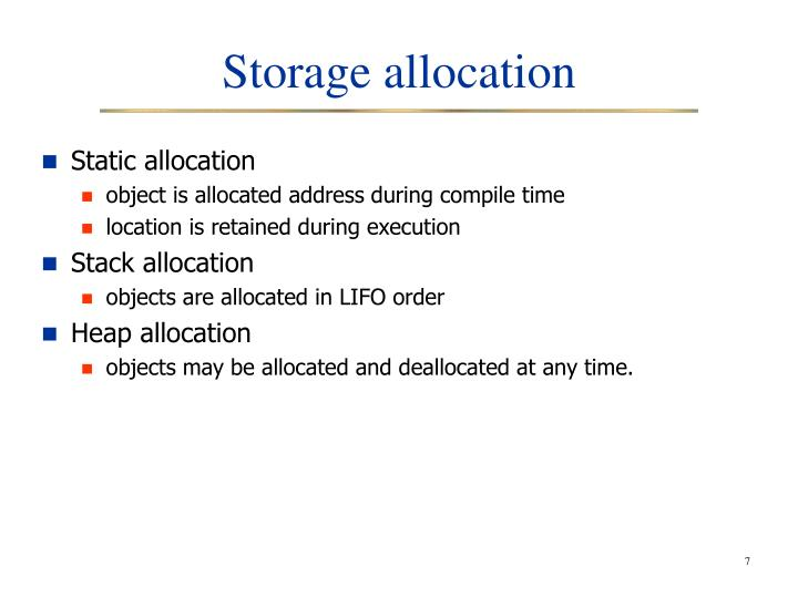 Storage allocation