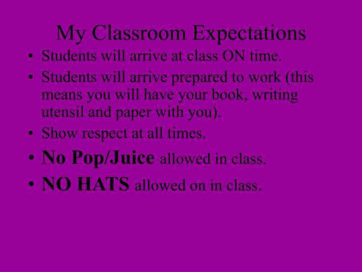 My classroom expectations