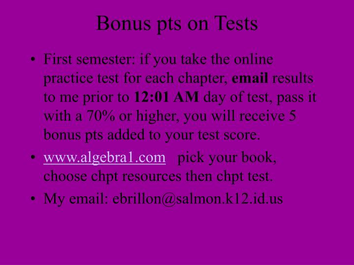 Bonus pts on Tests