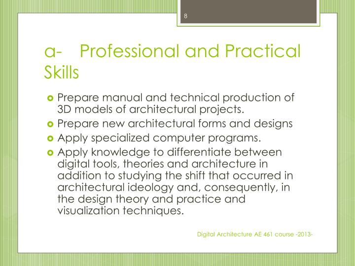 a-	Professional and Practical Skills