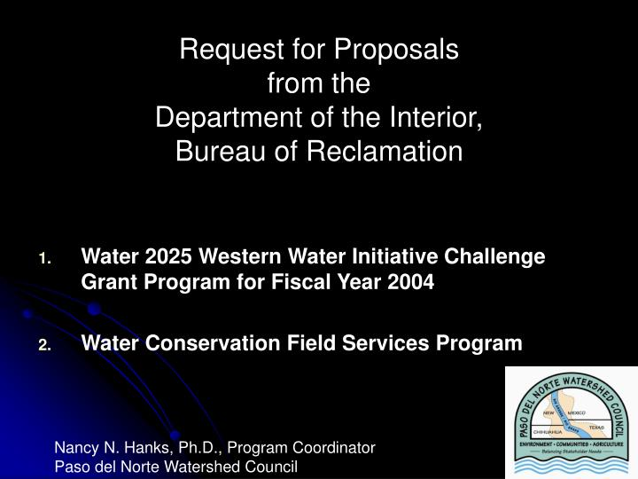 Request for proposals from the department of the interior bureau of reclamation