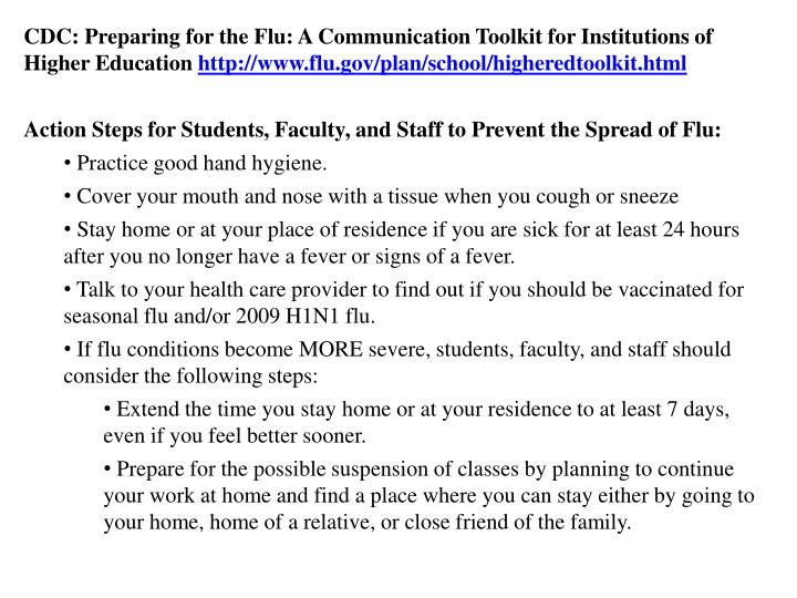 CDC: Preparing for the Flu: A Communication Toolkit for Institutions of Higher Education