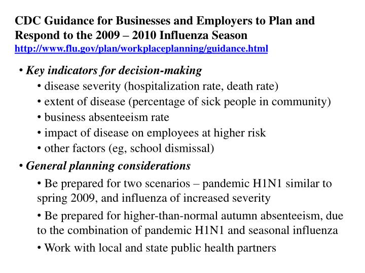 CDC Guidance for Businesses and Employers to Plan and Respond to the 2009 – 2010 Influenza Season