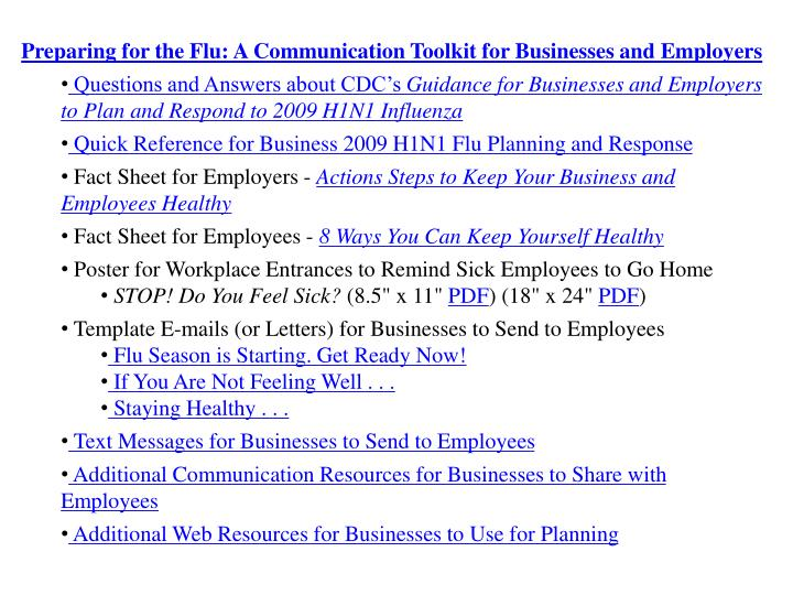 Preparing for the Flu: A Communication Toolkit for Businesses and Employers