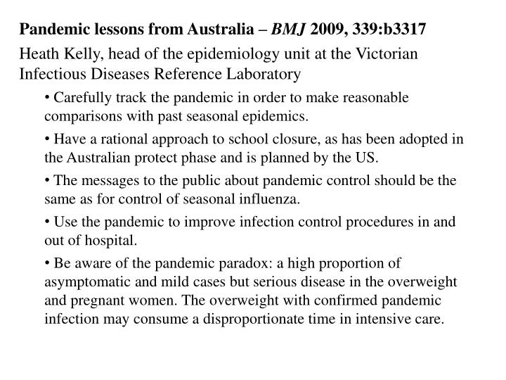 Pandemic lessons from Australia –
