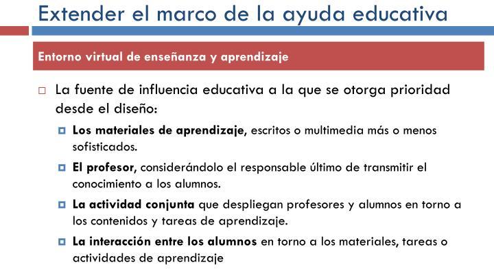 Extender el marco de la ayuda educativa
