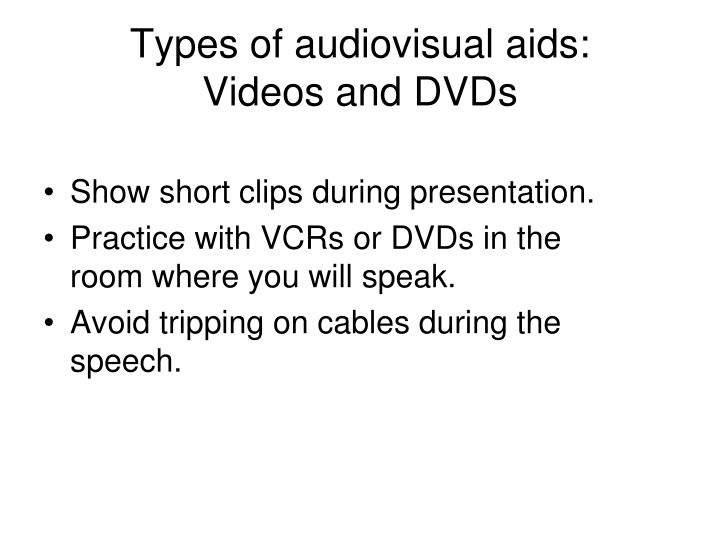 Types of audiovisual aids: