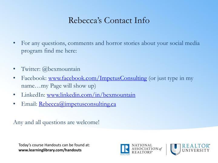 Rebecca's Contact Info
