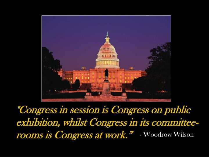 """""""Congress in session is Congress on public exhibition, whilst Congress in its committee-rooms is Congress at work."""""""