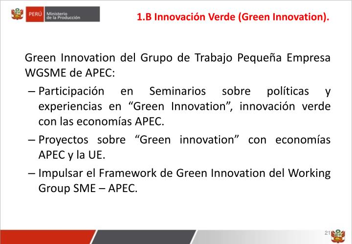 1.B Innovación Verde (Green Innovation).