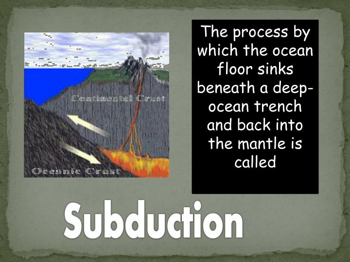 The process by which the ocean floor