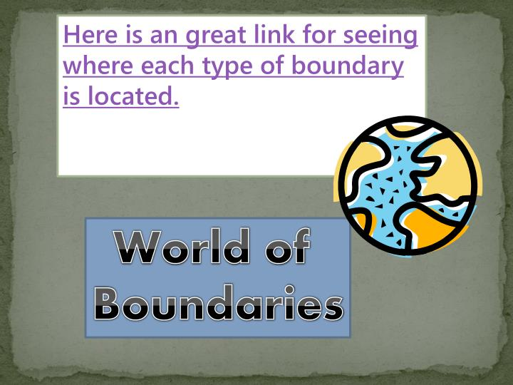 Here is an great link for seeing where each type of boundary is located.