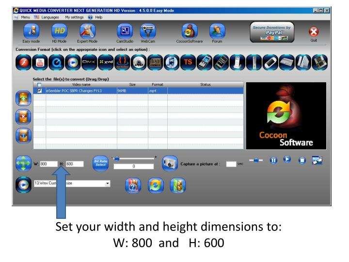 Set your width and height dimensions to: