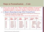 steps in normalisation cont