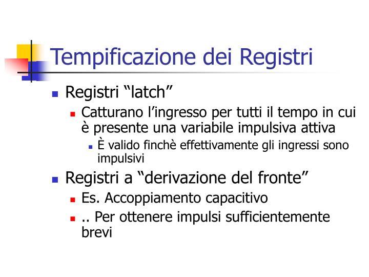 Tempificazione dei Registri