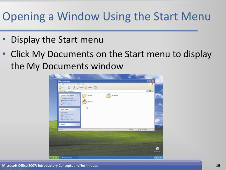 Opening a Window Using the Start Menu