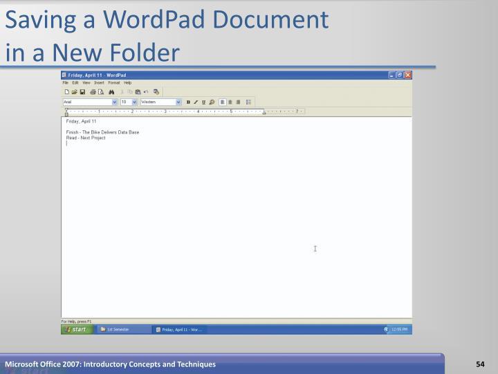 Saving a WordPad Document