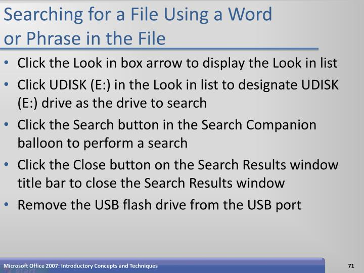 Searching for a File Using a Word