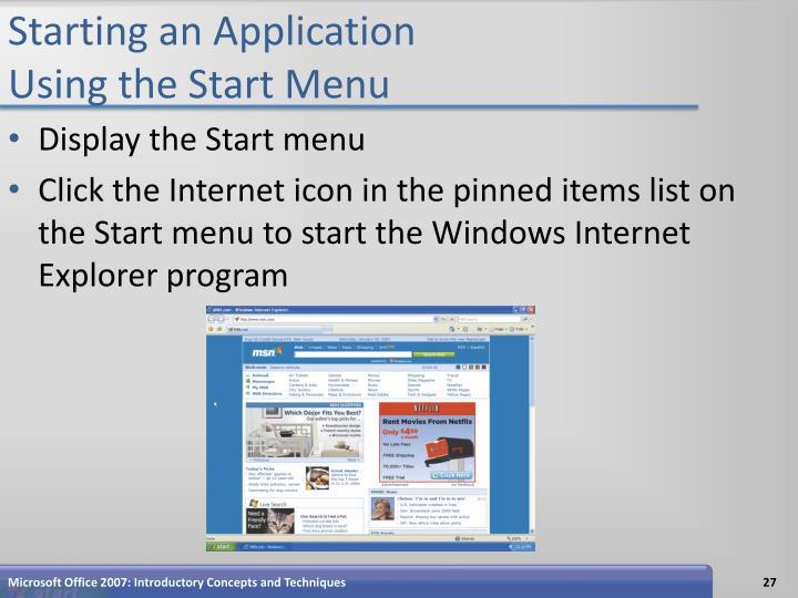 Starting an Application