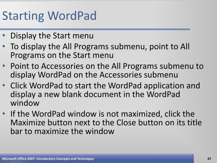 Starting WordPad