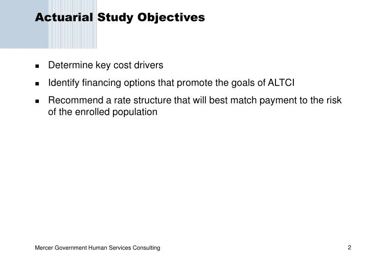 Actuarial study objectives