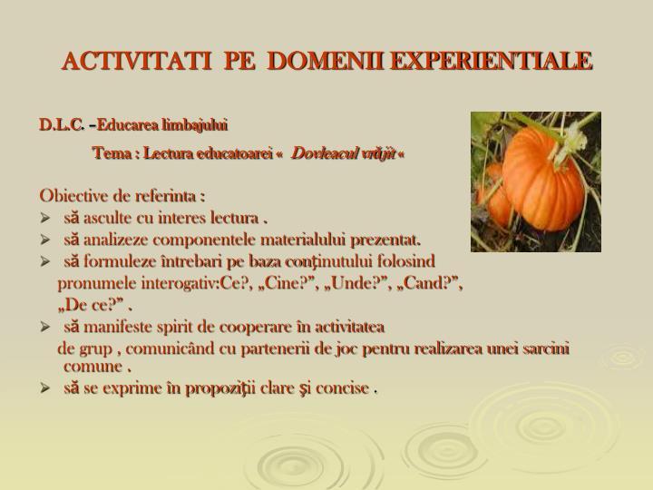 ACTIVITATI  PE  DOMENII EXPERIENTIALE