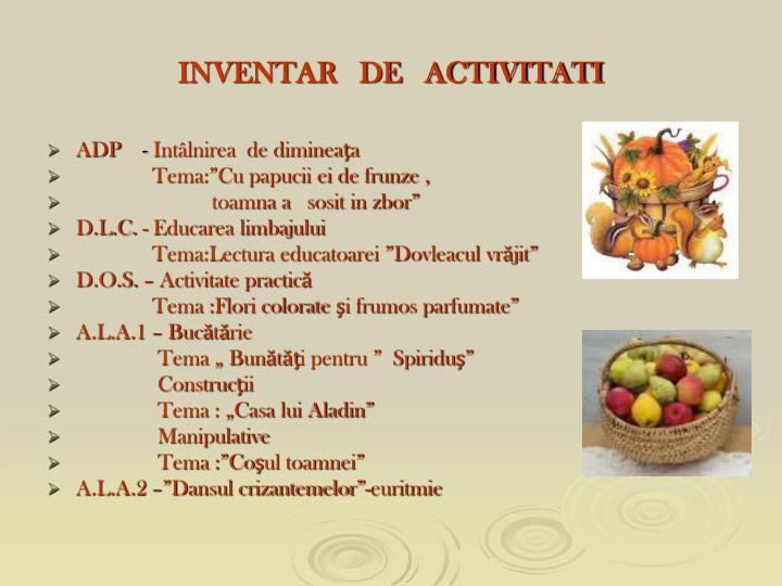 Inventar de activitati